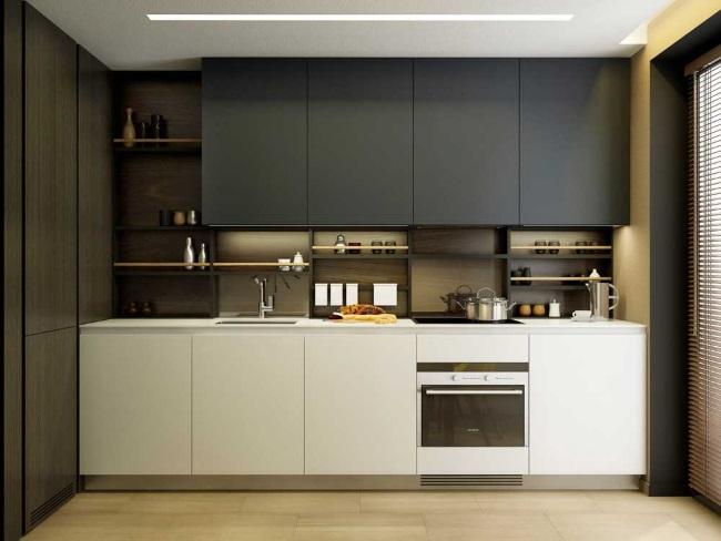5-bucatarie 9 mp cu mobila in alb si gri stil modern