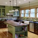 5-bucatarie cu mobila in combinatie de verde deschis pal cu lemn