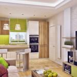 5-bucatarie deschisa spre living apartament modern