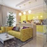 5-bucatarie galbena moderna amenajata in plan deschis cu livingul