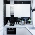 5-bucatarie mica si moderna cu mobila alba si finisaje negre
