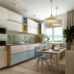 5-bucatarie moderna in alb si bleu cu fronturi lucioase