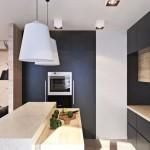 5-bucatarie moderna minimalista mobilier negru si cu furnir de stejar