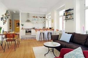 5-bucatarie si living stil scandinav amenajate in plan deschis