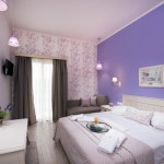 5-camera hotel Villa Anthelion Limenaria Thassos decorata in nuante de lavanda