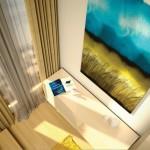 5-comoda cu sertare si tablou in nuante de bleu si galben decor dormitor 10 mp