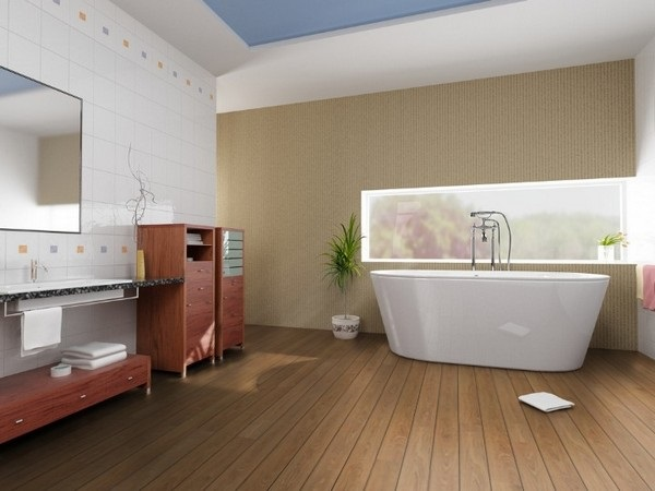 5-decor baie moderna pardoseala placata cu parchet rezistent la apa si umezeala