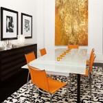5-decor modern combinatii portocaliu cu alb si maro wenge