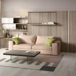 5-design modern mobila living cu canapea biblioteca si pat rabatabil