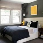 5-dormitor mic pereti gri inchis mobila alba accente cromatice galbene