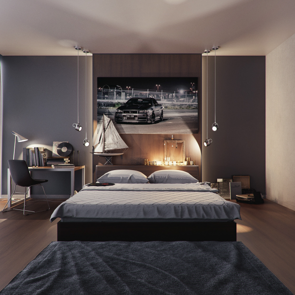5-dormitor modern cu perete de accent cugravit in gri mediu