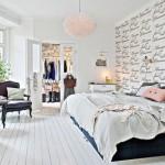 5-dormitor scandinav perete decorat cu tapet cu scris de mana