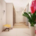 5-dressing mare si spatios cu usi lamelare din lemn proiectat in holul apartamentului
