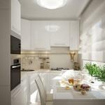 5-exemplu amenajare bucatarie mica mobila alba si electrocasnice moderne
