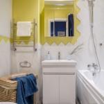 5-exemplu combinare faianta alba cu vopsea lavabila galbena amenajare baie