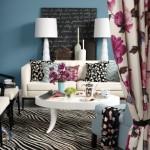 5-exemplu textile cu imprimeu floral in amenajarea unui living modern