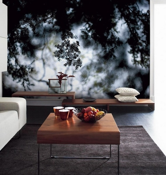 5-foto tapet crengi de brad gros plan decor perete living