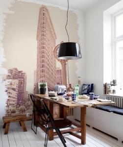 5-fototapet decorativ bucatarie cu cladirea Flatiron din New York