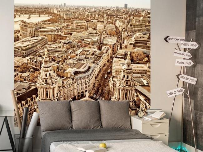 5-fototapet panoramica cu imaginea unui oras in sepia