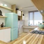 5-frigider Smeg bleu bucatarie moderna mobila alba cu lemn natur
