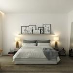 5-galerie de tablouri asezate pe peretele de la capul patului din dormitor