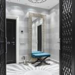 5-hol intrare locuinta cu peretii decorati cu tapet gri cu imprimeu in dungi orizontale
