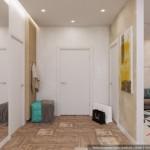 5-holul apartamentului cu usi albe de acces spre baie si debara