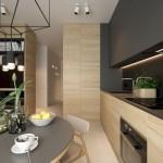 5-idee amenajare bucatarie moderna de apartament 2019 mobila stejar si gri