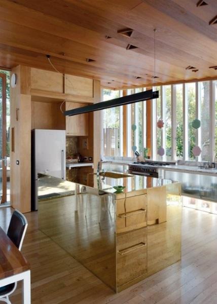 5-insula de bucatarie placata cu oglinzi solutie amenajare open space mic