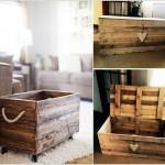 5-lada depozitare jucarii si reviste din palet de lemn