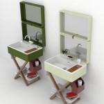 5-lavoare baie design retro integrate intr o valiza model my bag marca olympia