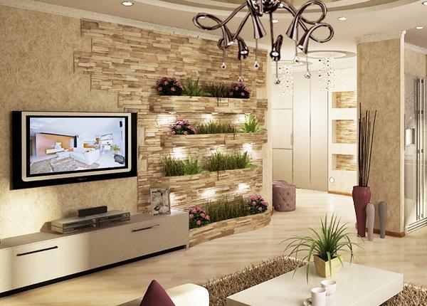 5-living modern cu perete placat partial cu piatra decorativa