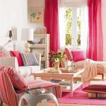 5-living vesel decorat cu textile roz ciclam