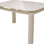 5-masa extensibila Shape din sticla securizata alba magazin Lems