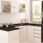5-mobilier alb cu negru bucatarie mica proiect casa mica 99 mp