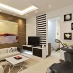 5-mobilier scund si decor cu dungi orizontale amenajare living mic