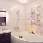 5-model baie moderna amenajata in alb si mov inchis