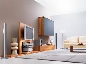 5-model mobilier living furnir de lemn combinat cu gri