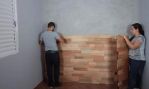 5-montarea panoului decorativ din lemn perete capul patului dormitor