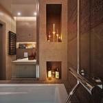 5-nise decorative in peretele de langa cada amenajare baie moderna finisata in bej si cappuccino