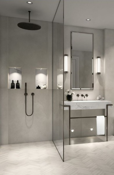 nise perete luminate baie moderna