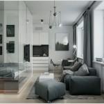 5-paravan de sticla separare vizuala zona de dormit de living si bucatarie open space