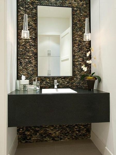 5-perete de accent placat cu piatra naturala decor baie moderna