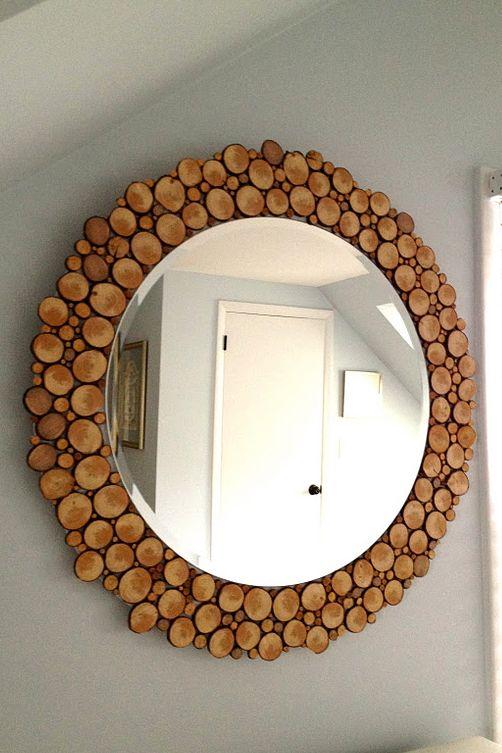 rama oglinda din felii de lemn