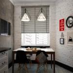 5-tapet imitatie caramida aparenta decor perete loc de luat masa bucatarie moderna