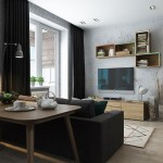 5-vedere din bucatarie spre livingul open space al garsonierei moderne de 40 mp