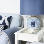 5-veioza frumoasa picior ceramic si abajur albastru living stil maritim