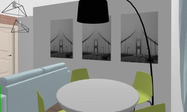 6-Loc de luat masa in bucatarie garsoniera 30 mp cu dormitor