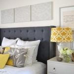 6-accente cromatice galbene in dormitor amenajat in alb negru si gri