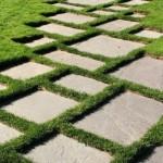 6-alee de gradina din dale de piatra intercalate cu iarba deasa